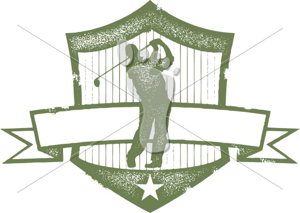 Vintage Golf Tournament Clip Art Graphic.