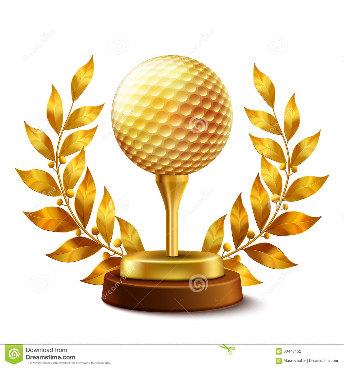 Golden golf award stock vector. Illustration of design.