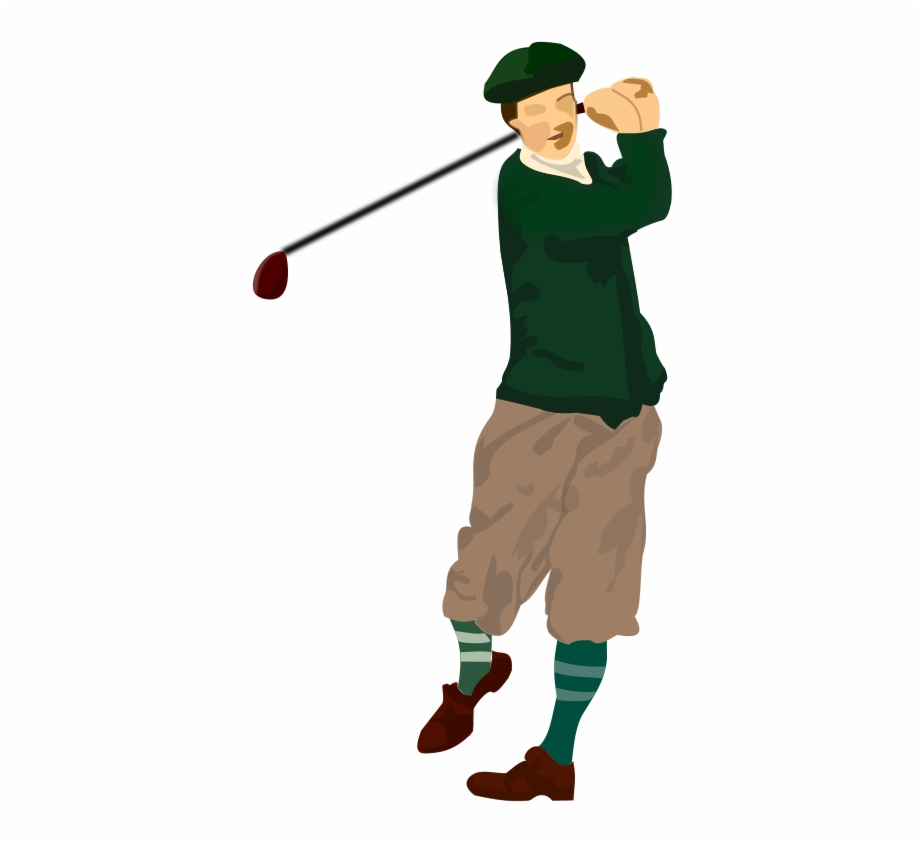 Golfer Swinging Clipart.