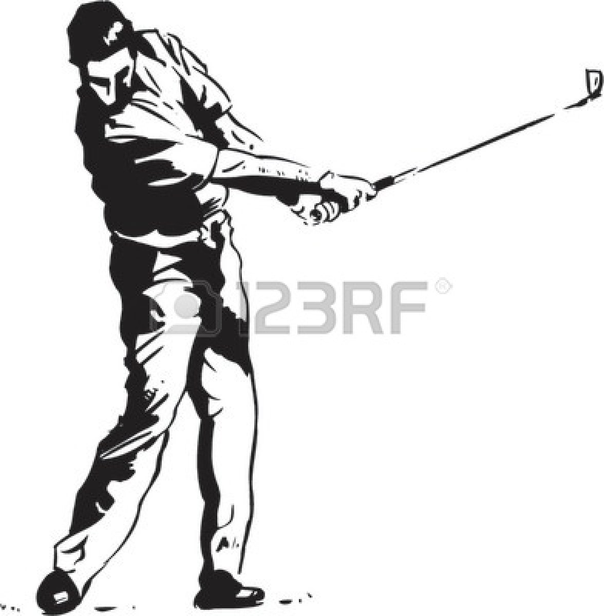 Golfer clipart black and white, Golfer black and white.