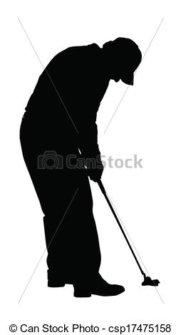 Clipart Vector of Golf Sport Silhouette.