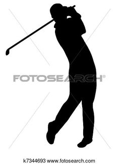 Golf Player Silhouette Clipart.