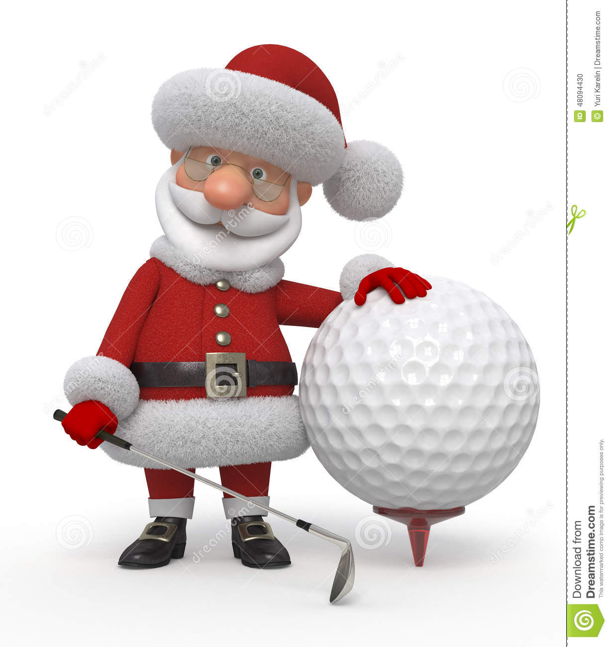3d Santa Claus Golfer Stock Illustration.