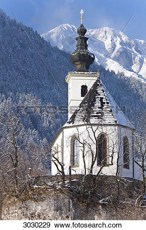 Stock Photograph of Steeple of the St. Nikolaus Church in Golling.