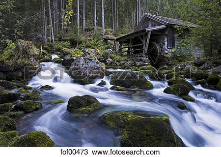Stock Photo of Austria, Golling, Waterfall overlooked by small.