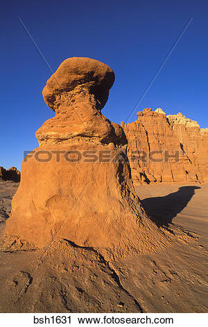 Stock Photography of Evening light on eroded rock formations at.