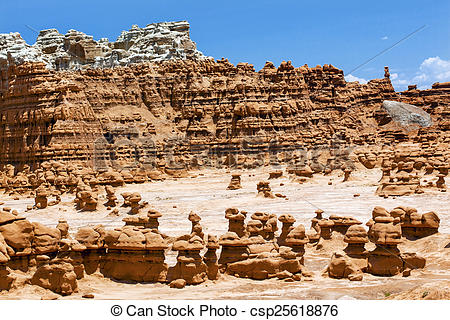 Picture of Blue Mountain Mushroon Shaped Hoodoos Goblin Valley.