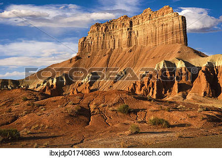 "Stock Photo of ""Morning light on Wild Horse Butte in Goblin Valley."