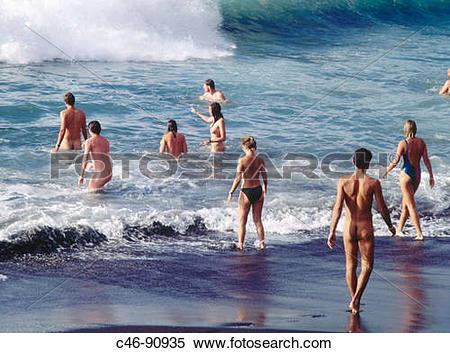 Stock Image of Nudist beach, Valle Gran Rey. La Gomera, Canary.