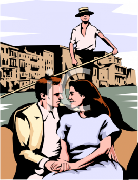 Realistic Clip Art of a Couple in a Gondola.