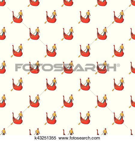 Clipart of Gondola with gondolier pattern, cartoon style k43251355.