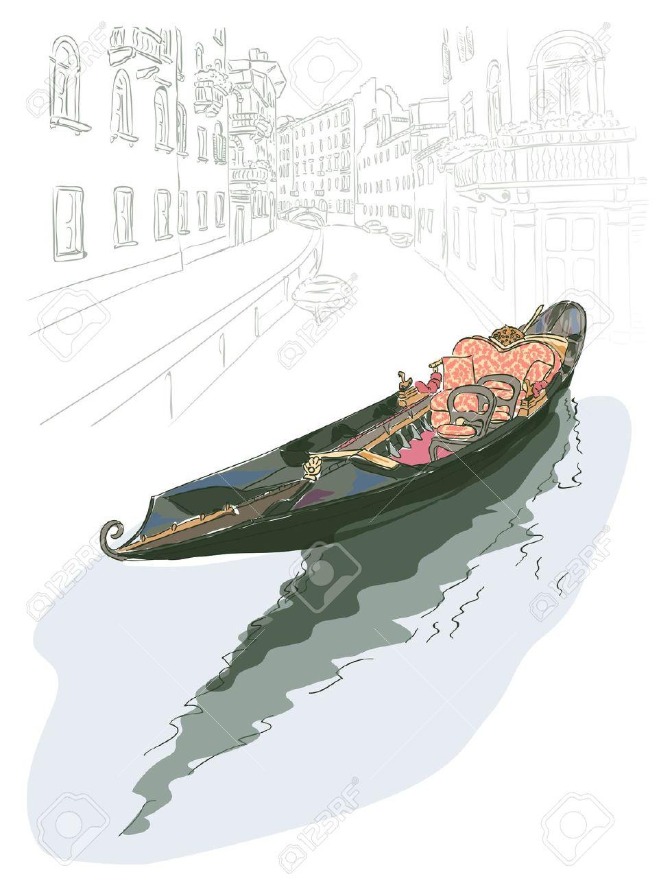 Gondola. Watercolor Style. Vector Illustration. Royalty Free.
