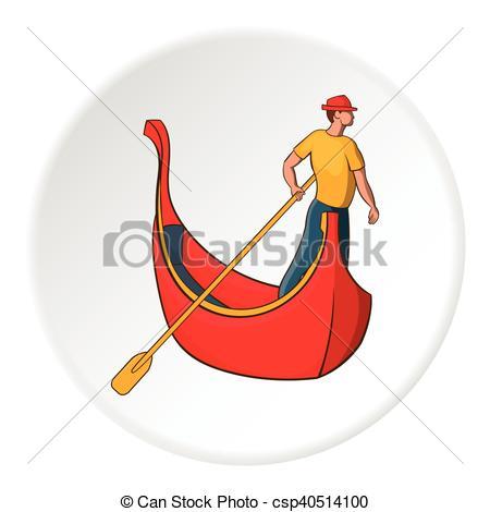 Vector Clipart of Gondola and gondolier icon, cartoon style.