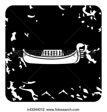 Clip Art of Gondola icon, grunge style k43344012.