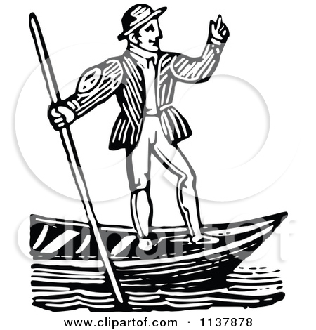 Clipart of a Flat Design Gondolier and Boat over Venice Text on.