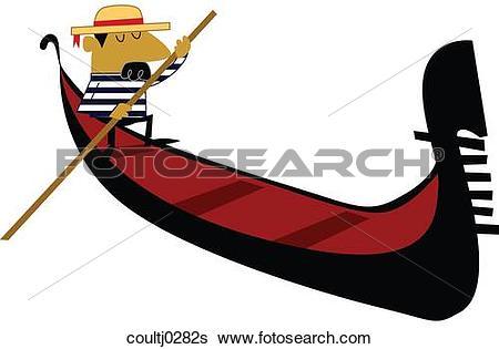 Stock Illustration of Gondolier and Gondola coultj0282s.