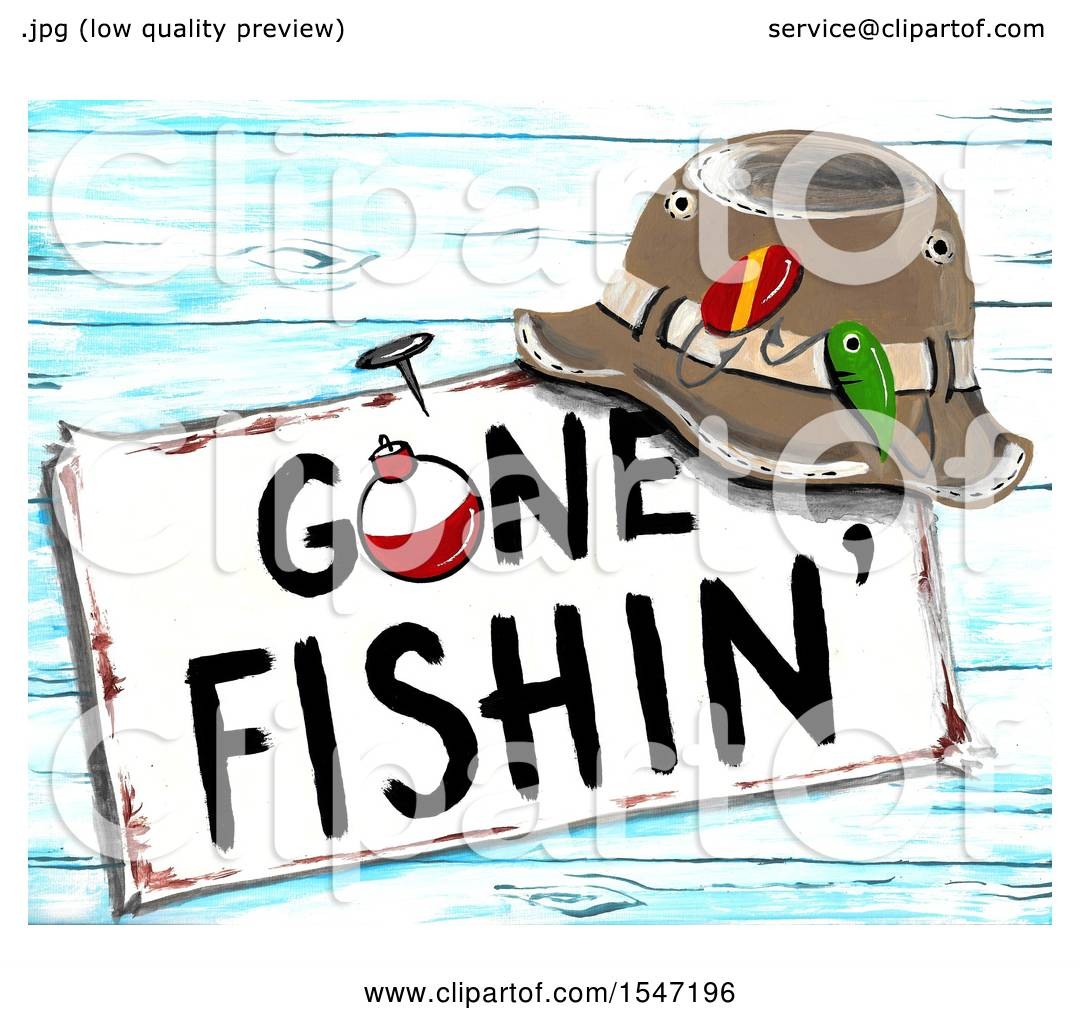 Clipart of a Hat Resting on a Gone Fishing Sign.