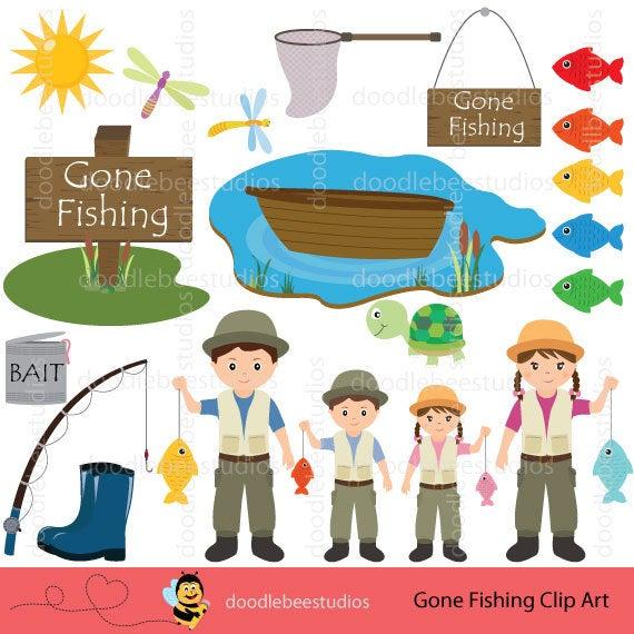 Fishing Clipart, Gone Fishing Clipart, Gone Fishin Clipart, Fishing Clip  Art, Fisherman Clipart, Family Fishing Clipart, Fishing Rod Clipart.