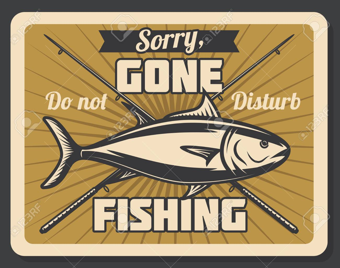 Gone fishing retro banner with fish and spinning rod. Outdoor...