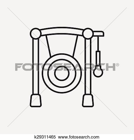 Clipart of Gong line icon k29311465.