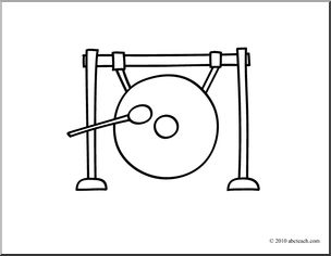 Clip Art: Basic Words: Gong (coloring page).