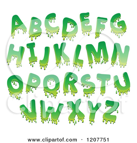 Cartoon of a Green Goo Alphabet Letters.