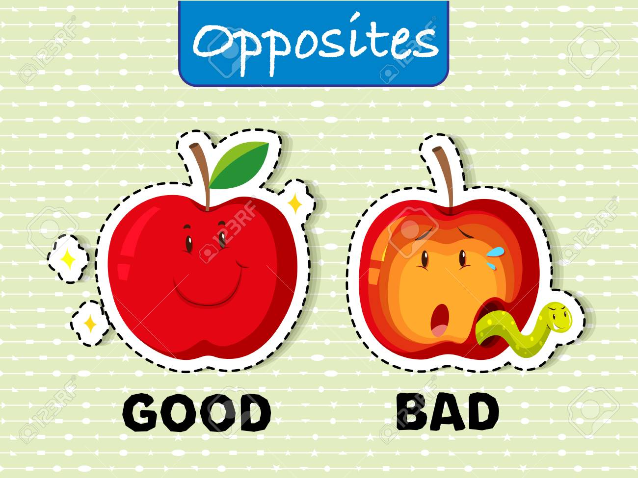 Opposite words for good and bad Vector illustration..