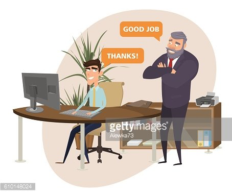 Boss happy as did slave work. good job. Clipart Image.