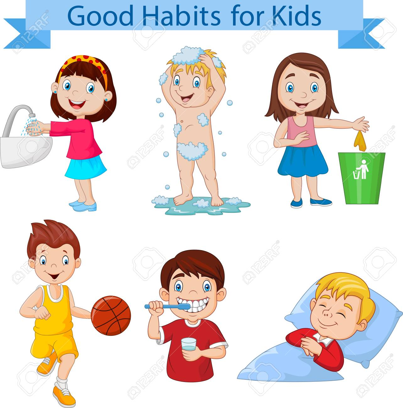 Vector illustration of Good habits collection for kids.
