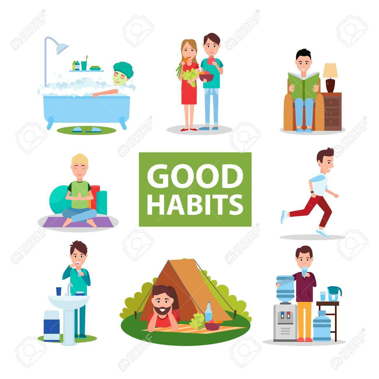 Good Habits Poster with Characters Who Do Right.