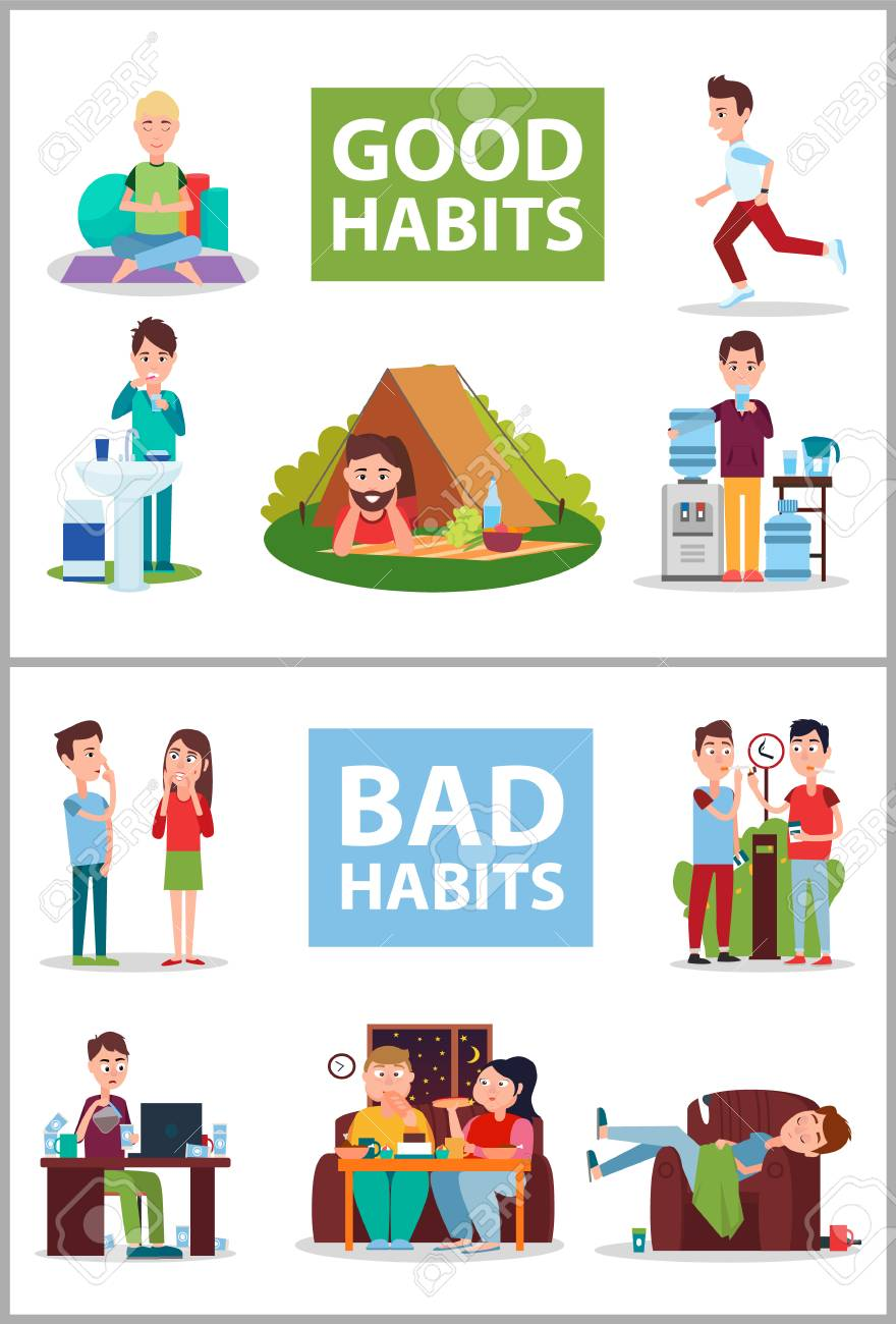 Good and Bad Habits Poster Vector Illustration.