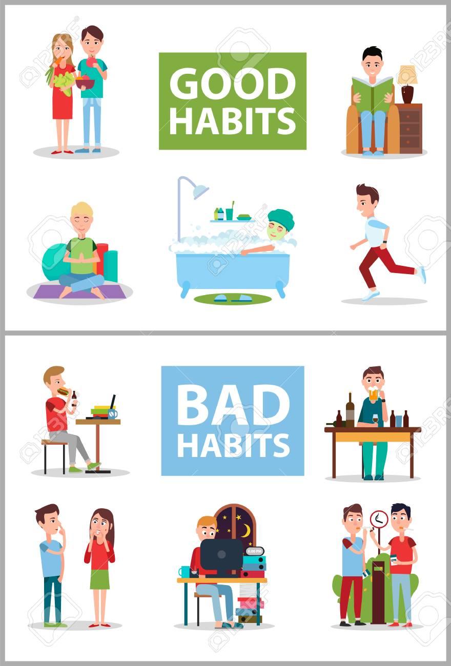 Good and Bad Habits Poster Set Vector Illustration.