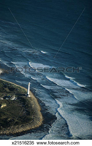 Stock Image of Kommejie Lighthouse, vertical view, Cape of Good.