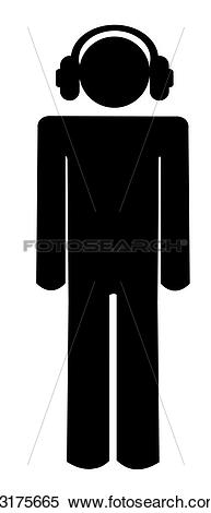 Stock Illustration of stick man or figure with headphones.