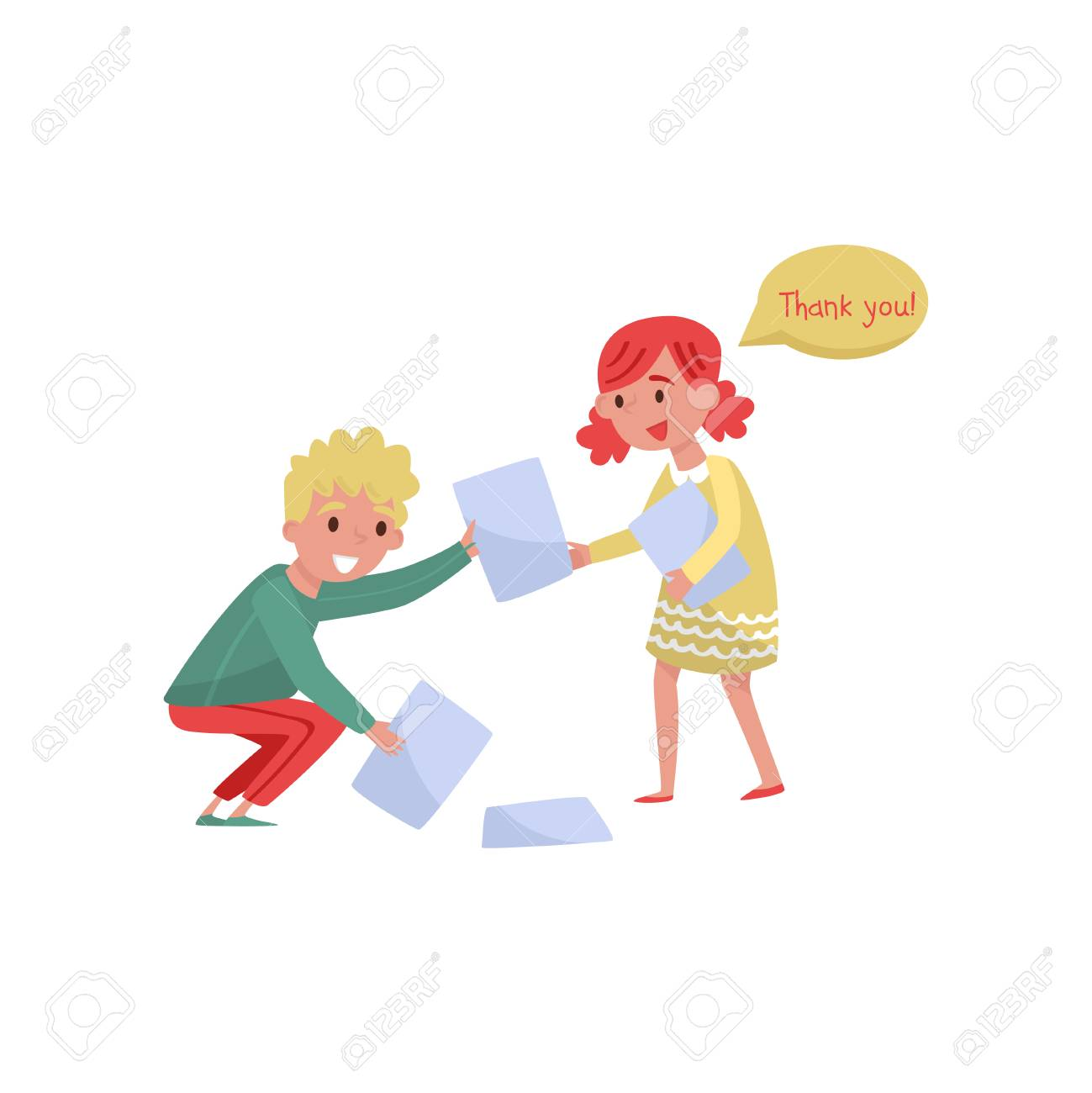 Smiling boy helping girl to picking up paper from the floor.