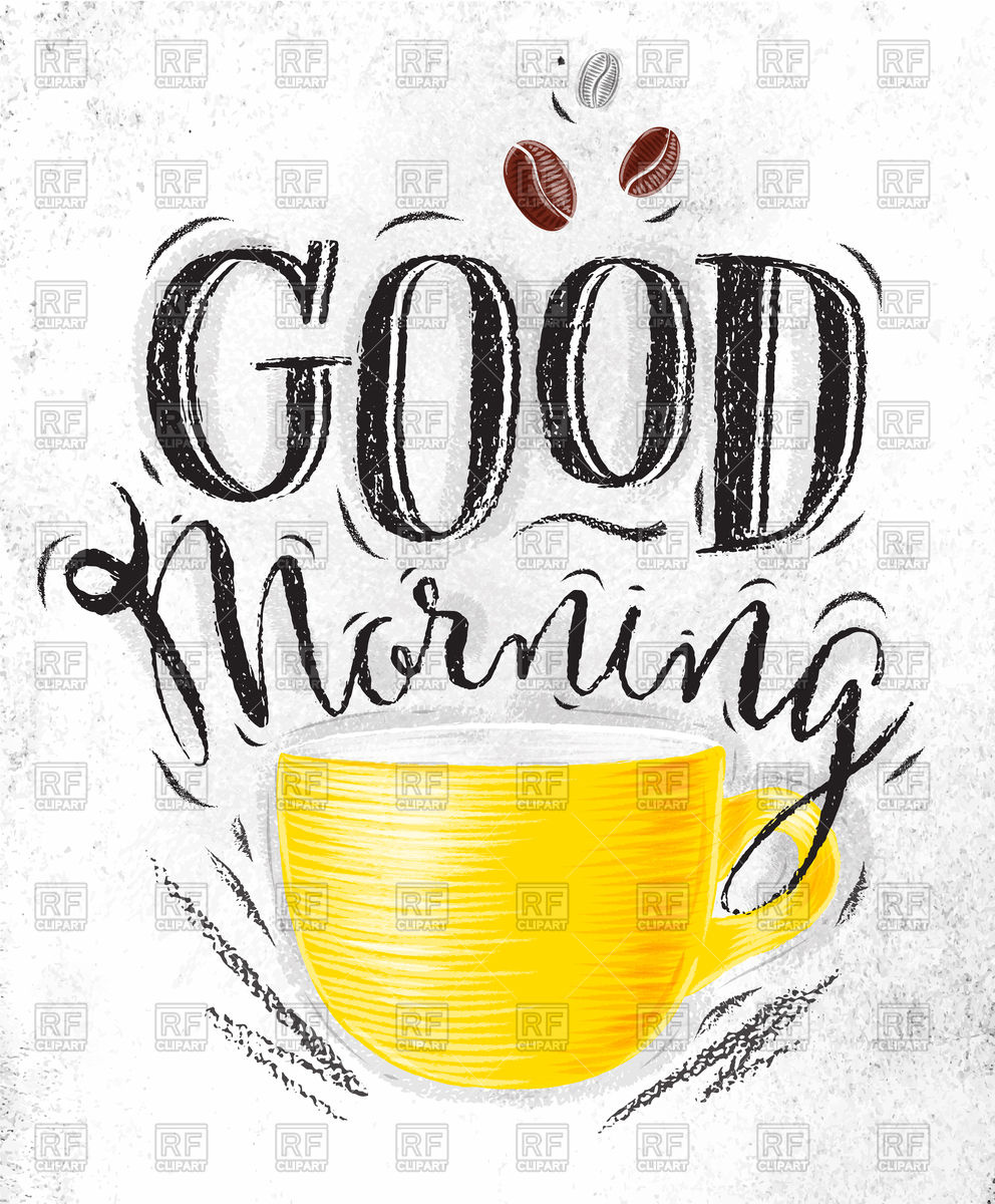 Poster with cup of coffee lettering good morning Stock Vector Image.