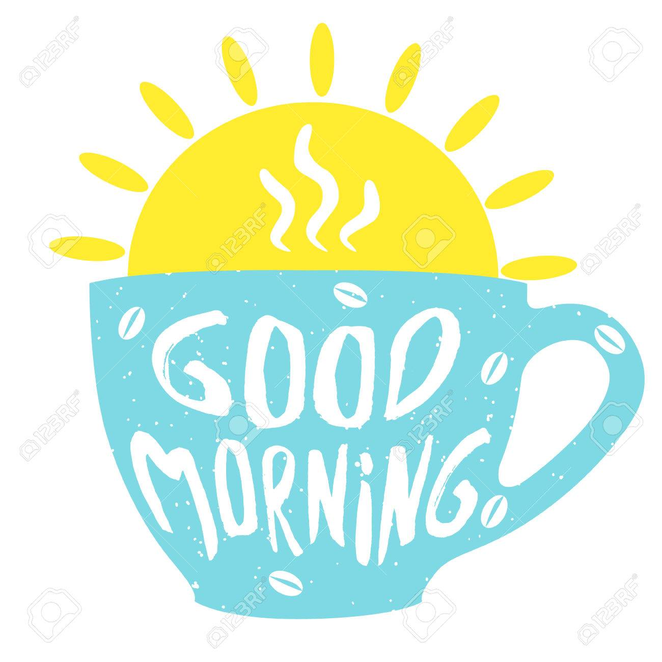 Good morning cup with hand drawn lettering. Cup of coffee. Vector...