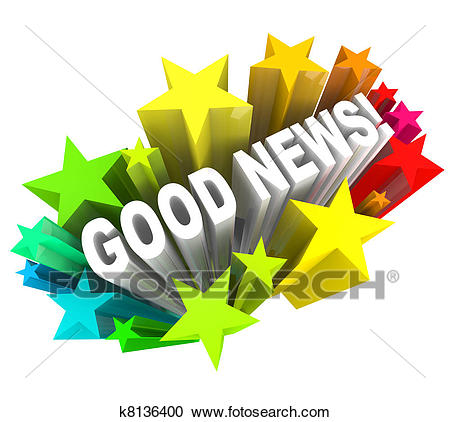 Good News Announcement Message Words in Stars Clipart.