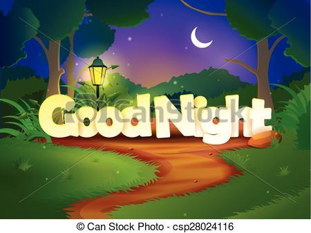 Good night romantic clipart.