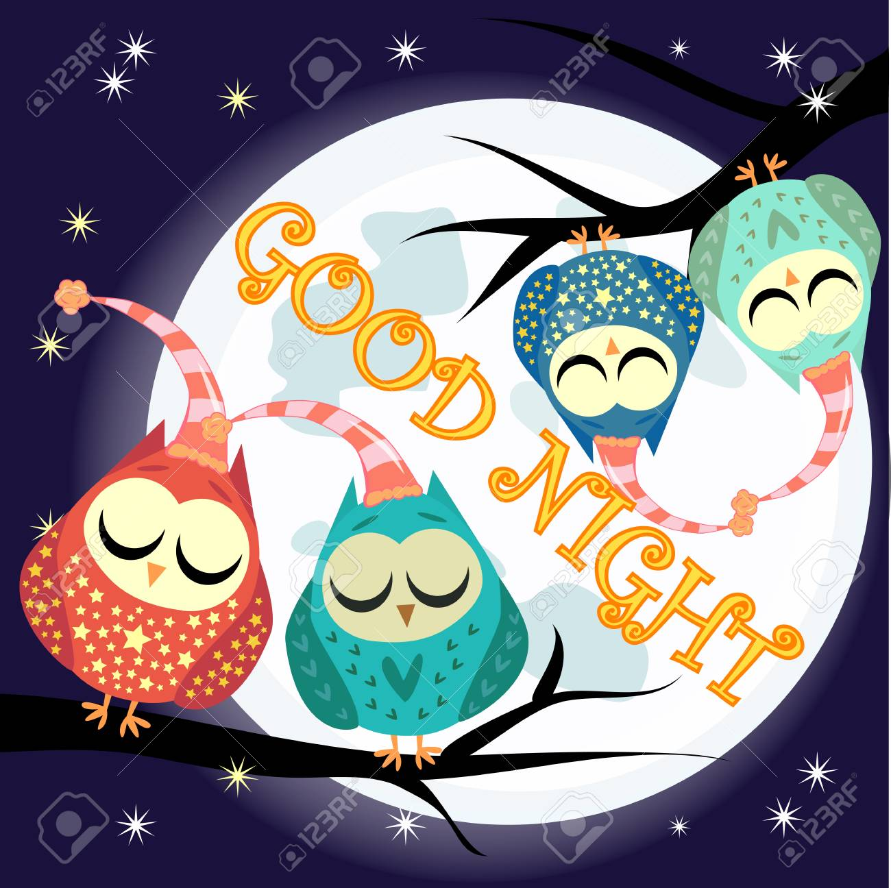 Good night card with full moon and cute owl..