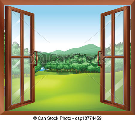 Clipart Vector of A window with a good view of the beautiful gift.