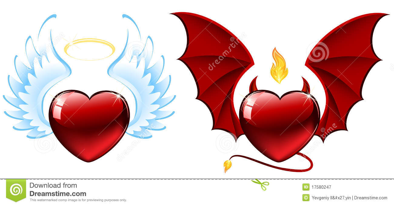 Good vs evil hearts stock vector. Illustration of holy.