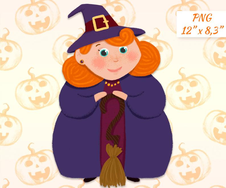 Witch clipart Halloween clipart Good witch Halloween Scrapbooking decor  Cute witch Cute character clipart Commercial use Digital clipart.