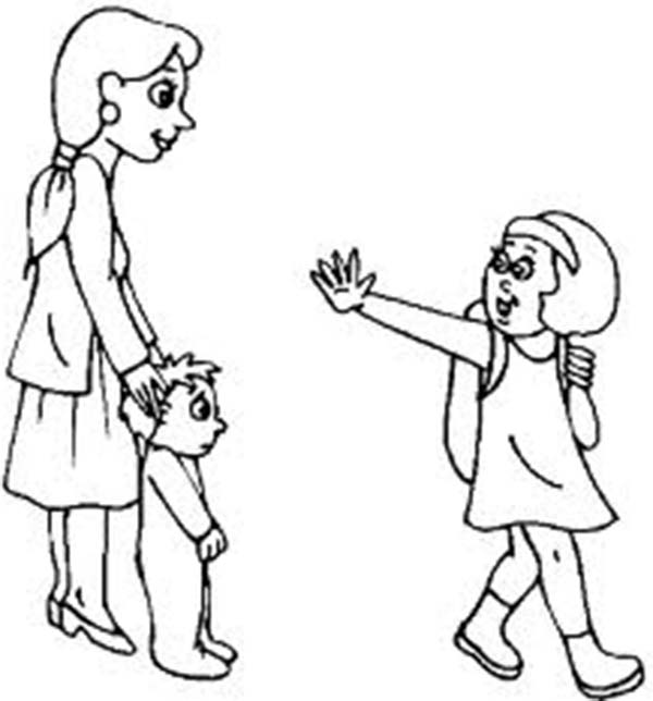 Waving Goodbye Clipart Black And White.