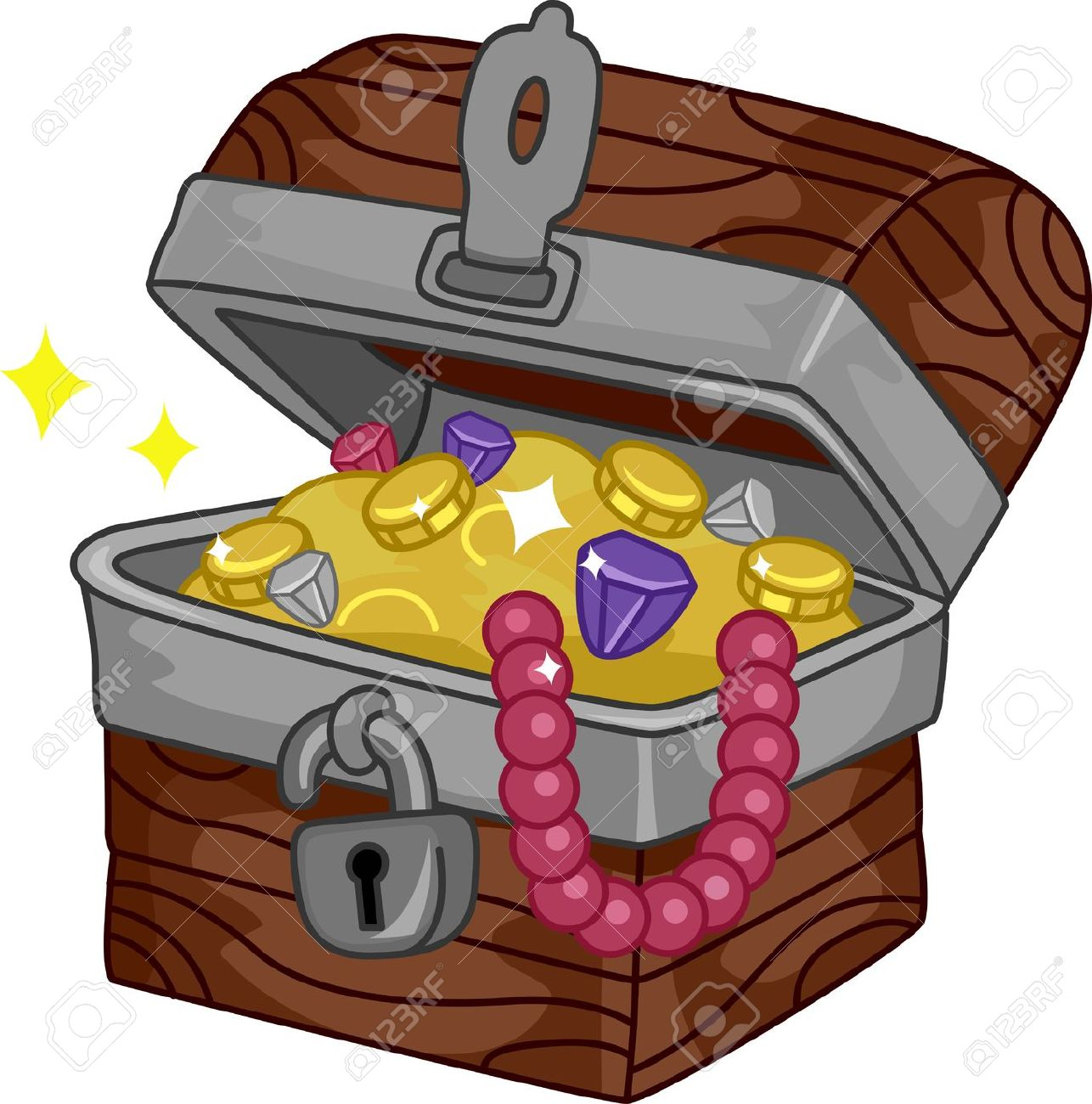 Illustration Of A Treasure Chest Full Of Goodies Stock Photo.