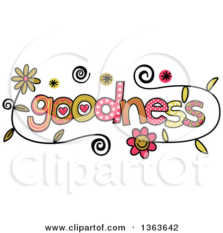 Clipart of Colorful Sketched Goodness Word Art.