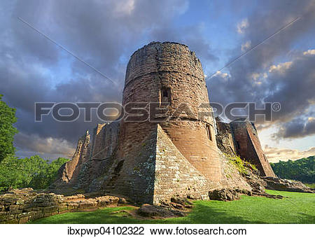 Stock Photo of The 12th century medieval Norman ruins of Goodrich.
