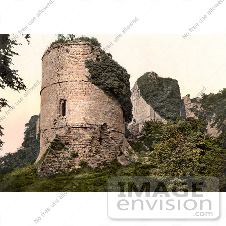 Stock Photography of Overgrown Ivy on the Ruins of Round Tower at.