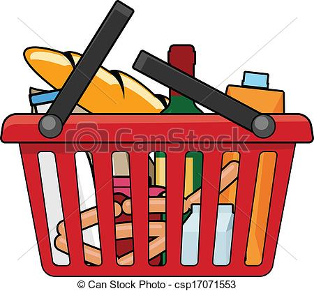 Clipart Vector of Shopping basket with goods csp17071553.