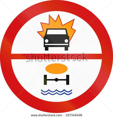 Polish Traffic Sign Prohibiting Thoroughfare Of Motor Vehicles.